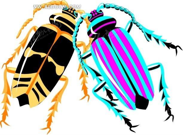 虫子 天牛 卡通动物 卡通画 插画 手绘 矢量素材 动物图片 卡通形象