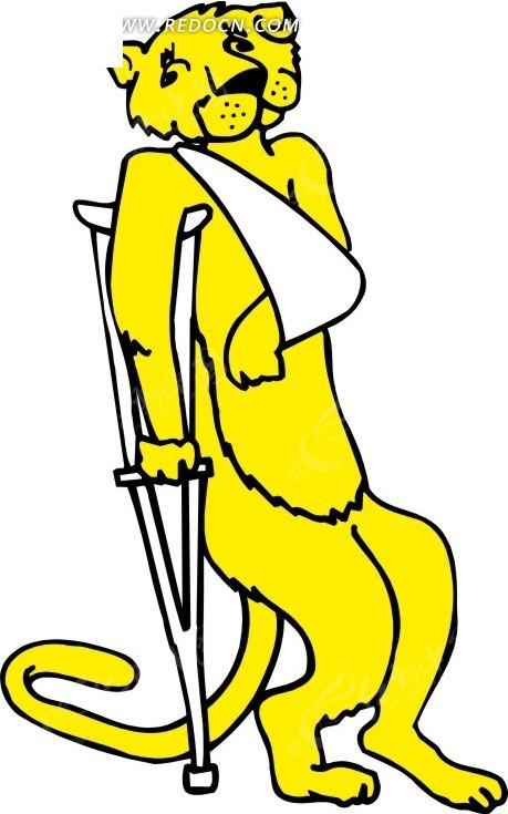 手绘一只受伤的黄色狮子