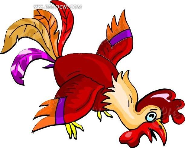 手绘红色的大公鸡