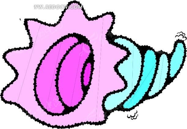 手绘彩色的海螺