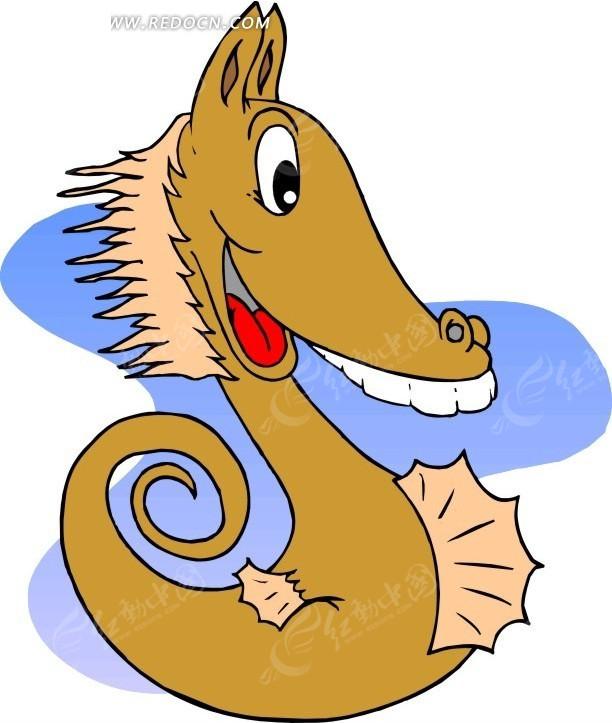 手绘褐色的小海马