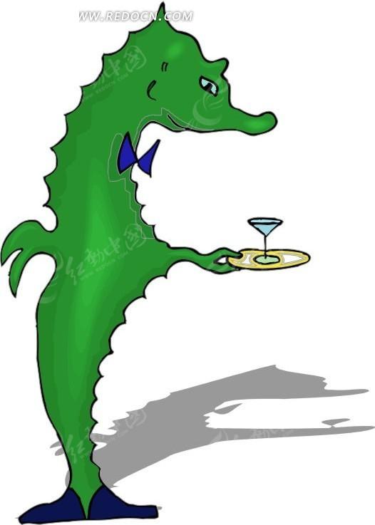 手绘一只绿色的海马服务生