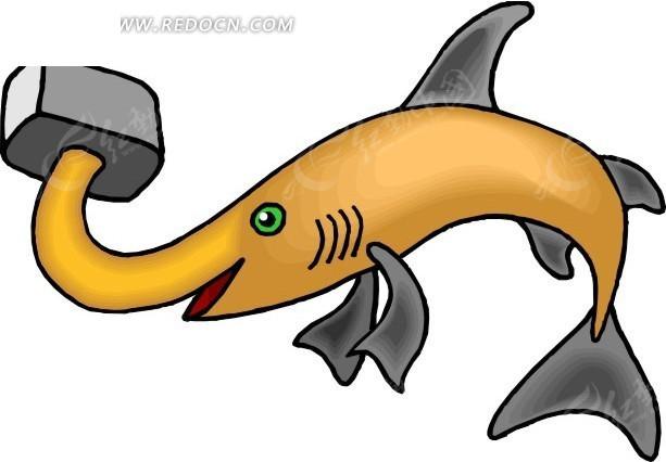 手绘锤子嘴巴的鲨鱼