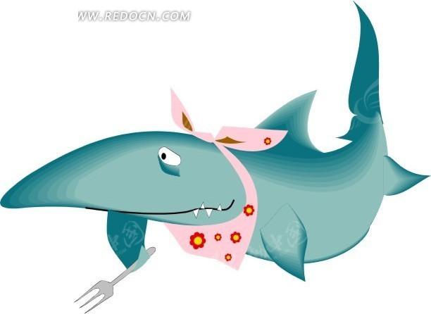 手绘拿着叉子的鲨鱼