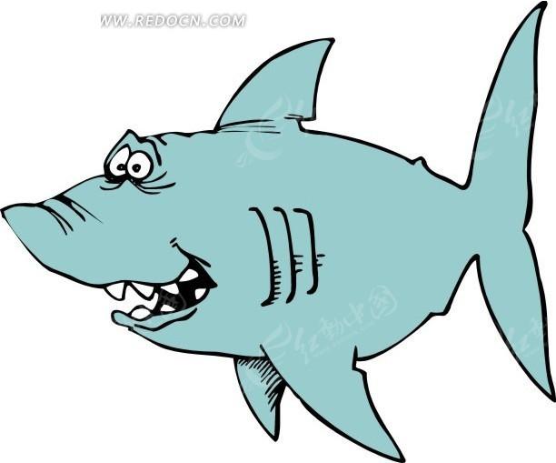 鲨鱼 卡通动物 卡通画 插画 手绘 矢量素材 动物图片 卡通形象 免费