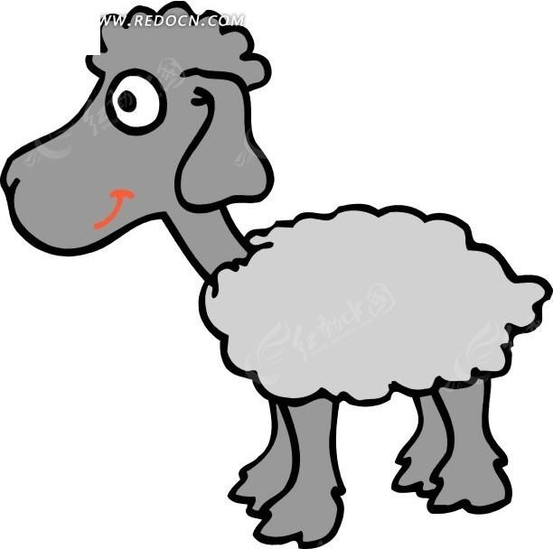 手绘开的灰色绵羊