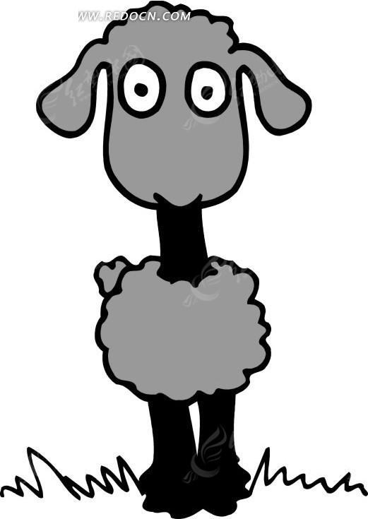 可爱的灰色绵羊手绘素材