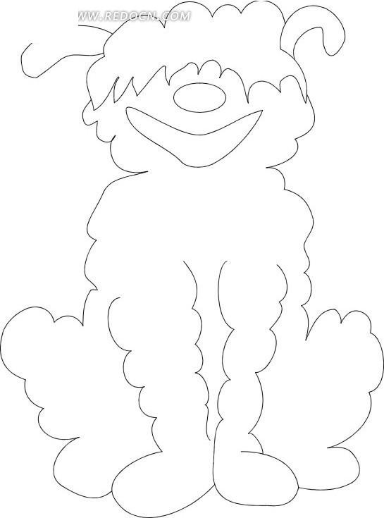 免费素材 矢量素材 生物世界 陆地动物 手绘线描画蹲在地上的小狗