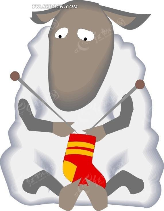 手绘坐着织毛衣的绵羊矢量图_陆地动物