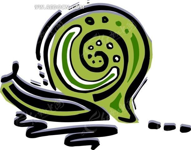 手绘抽象的蜗牛矢量图