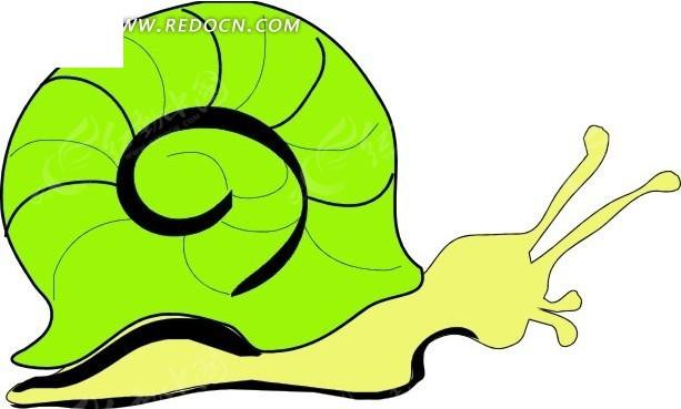 卡通画绿色的蜗牛矢量素材