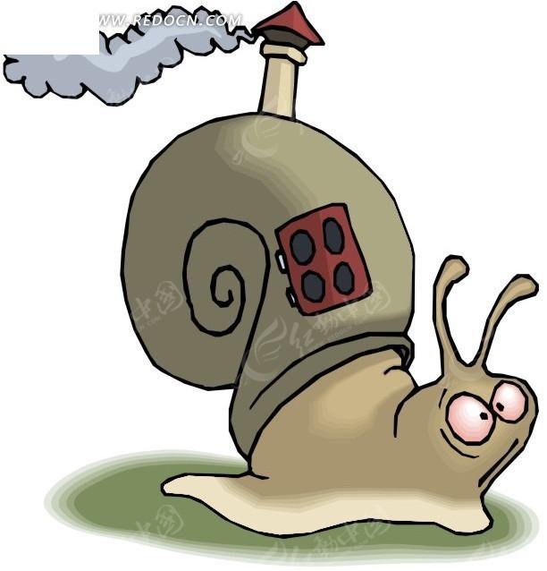 有趣的蜗牛卡通画