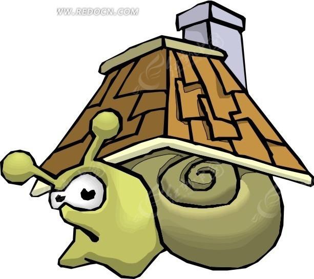 房盖儿  蜗牛  手绘 插画 卡通画 卡通形象 卡通动物 漫画素材 动物
