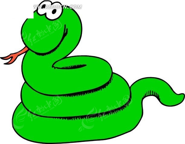 儿童画盘在一起的绿色小蛇
