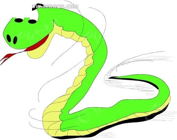 一条绿色小蛇手绘素材