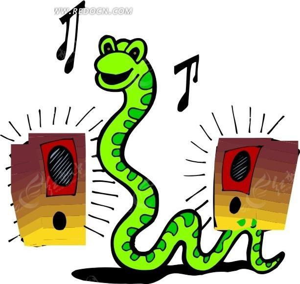 手绘听音乐的蛇