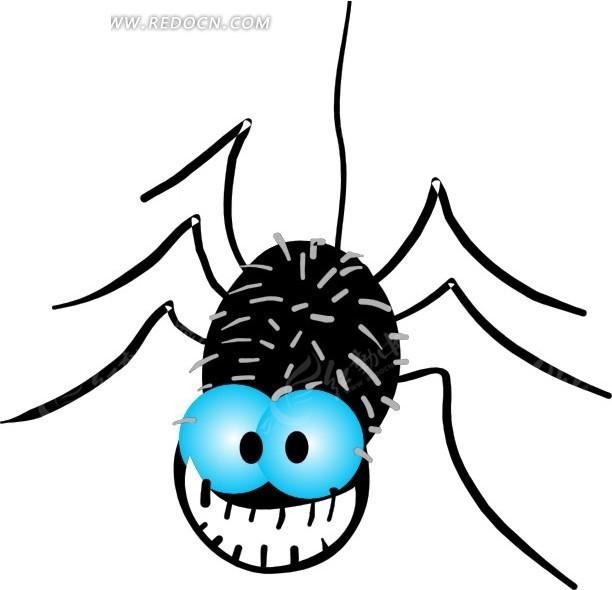手绘一只蓝色大眼睛的蜘蛛