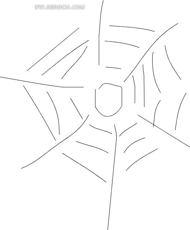 手绘线描的蜘蛛网