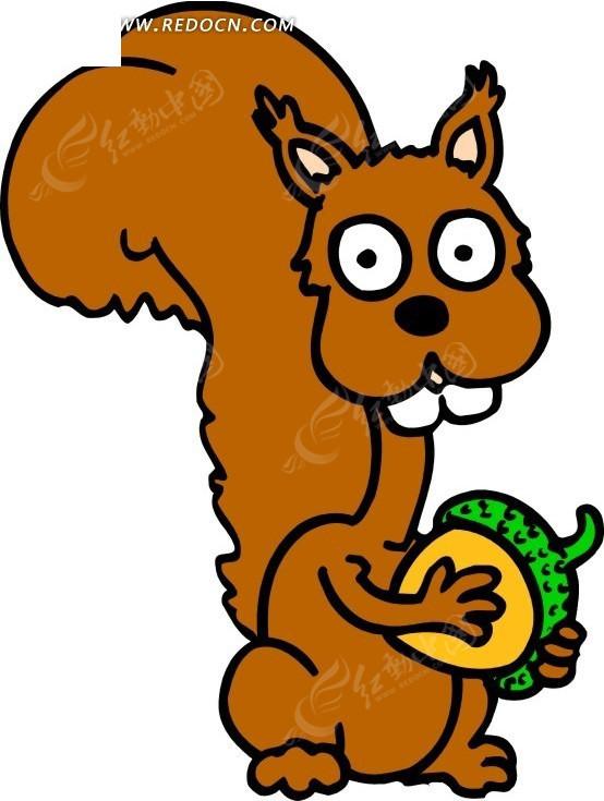 儿童画抱着松果的松鼠矢量图