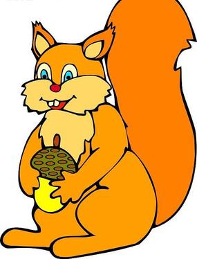 儿童画抱着松果的橘黄色松鼠