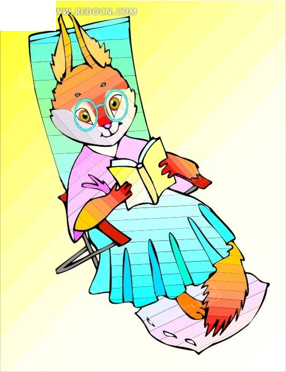 手绘躺在椅子上看书的松鼠