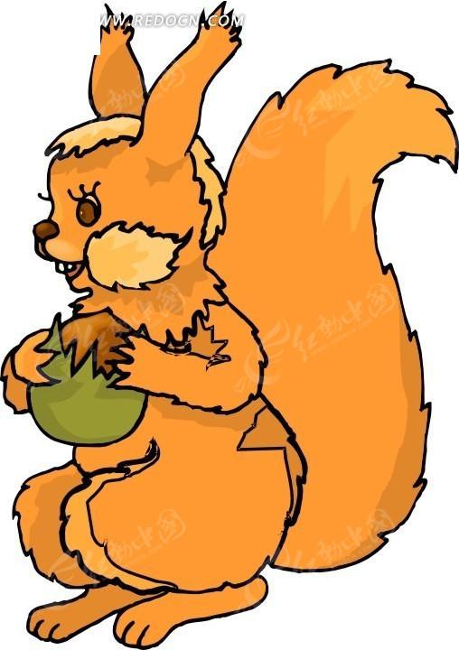 松鼠 卡通动物 卡通画