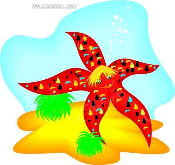 手绘海底的红色海星