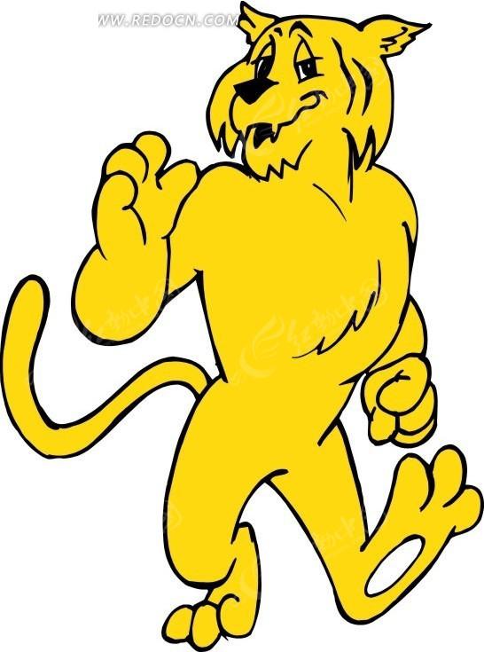 卡通画站着的黄色老虎