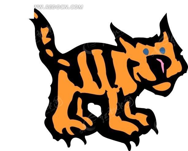 儿童手绘橙色的小老虎