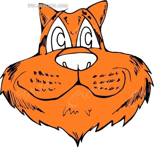 手绘橘红色的虎头