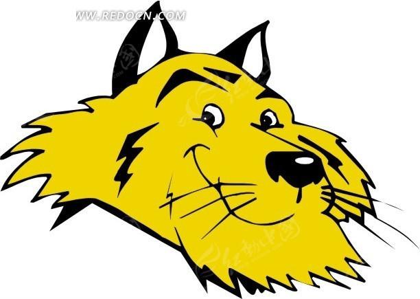 手绘黄色的老虎头像