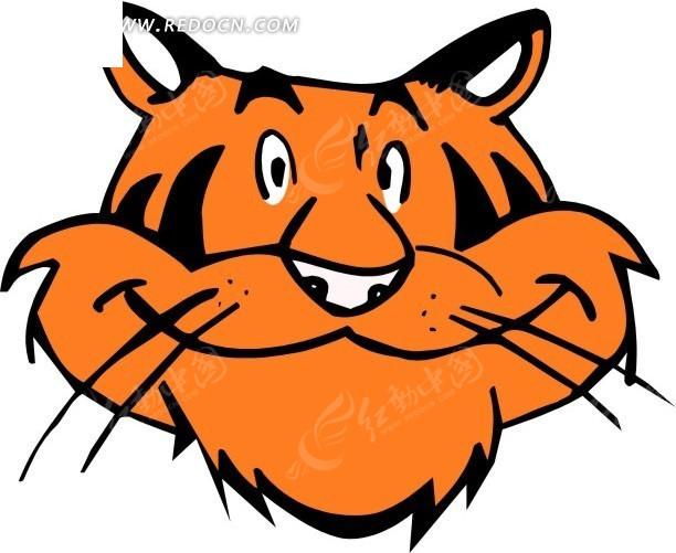手绘橙色的老鼠头像矢量图_陆地动物