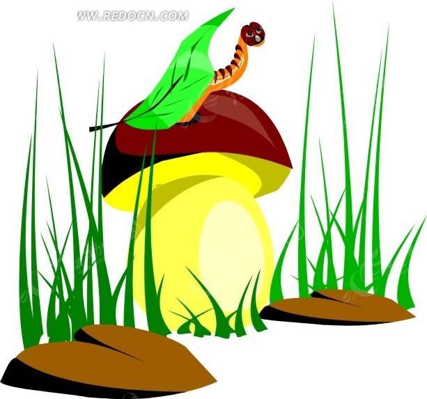蘑菇 小虫 毛毛虫  卡通动物 卡通画 插画 手绘 矢量素材 动物图片