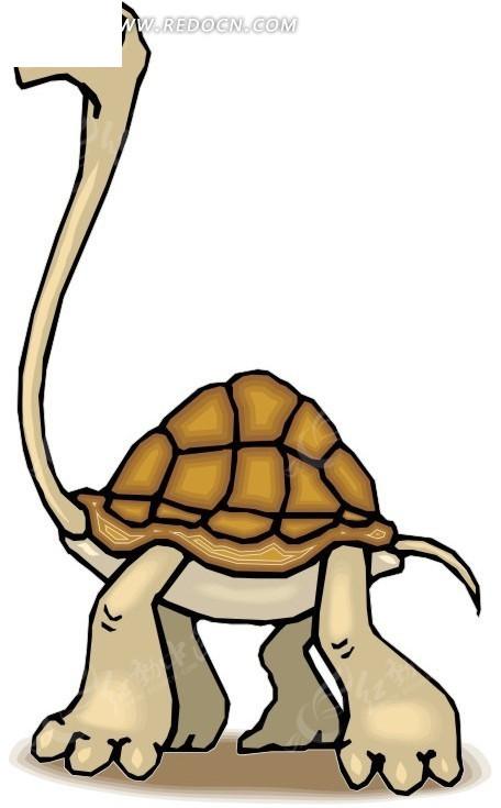 手绘长脖子乌龟