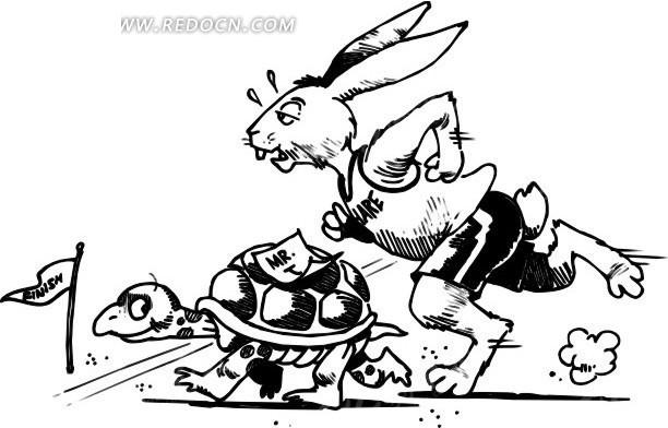 手绘龟兔赛跑