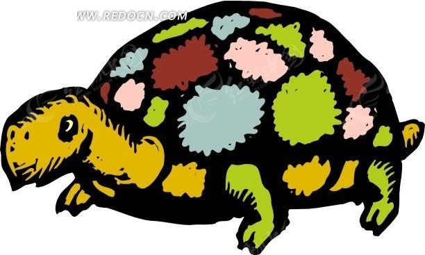 手绘彩色龟壳的小乌龟