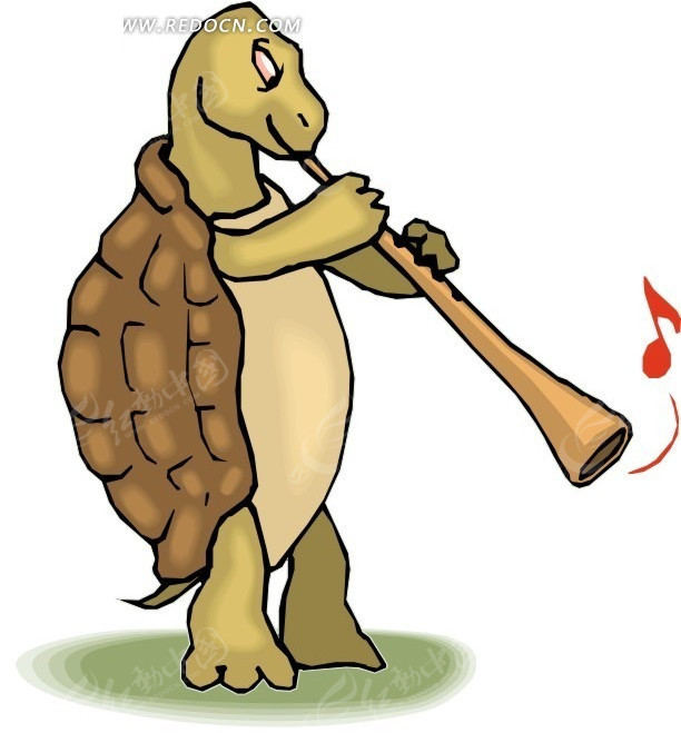 手绘吹笛子的乌龟
