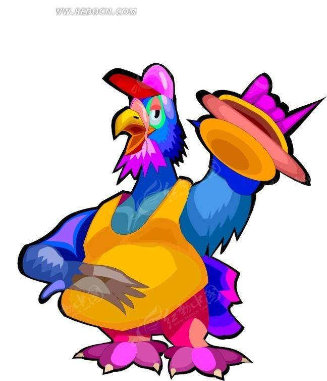 卡通画拿着汉堡的鸡矢量图_陆地动物