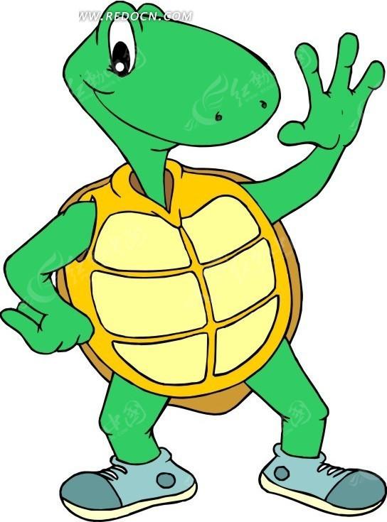 手绘站着单手叉腰的小乌龟