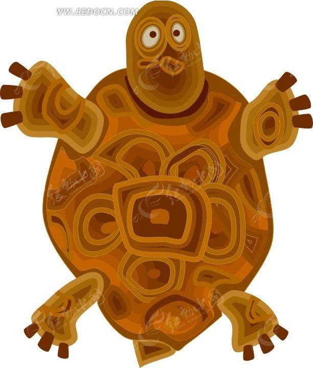 儿童手绘褐色花纹龟壳的乌龟
