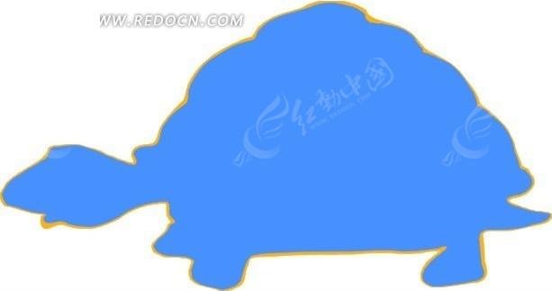 儿童手绘蓝色乌龟图案矢量图_陆地动物