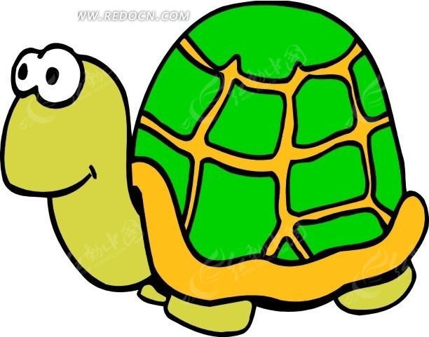儿童手绘绿色龟壳的小乌龟