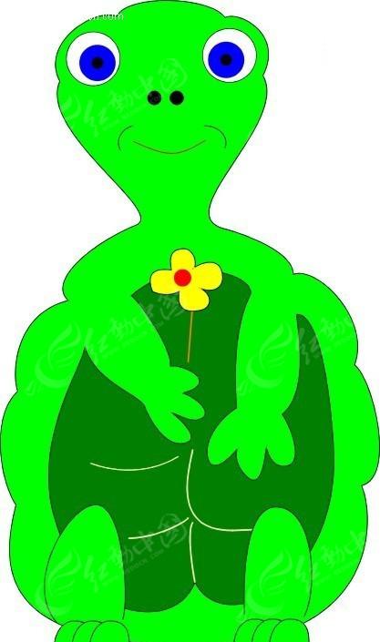 儿童手绘站立的绿色乌龟