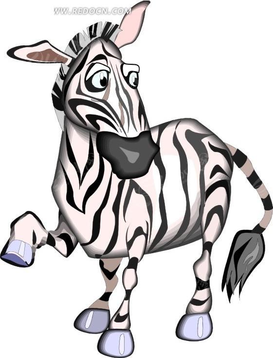 斑马 卡通动物 卡通画 插画 手绘 矢量素材 动物图片 卡通形象 免费