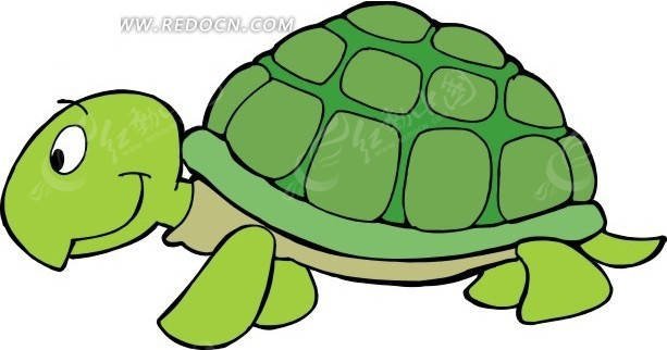 儿童手绘绿色的小乌龟矢量图其他免费下载 陆地动物素材