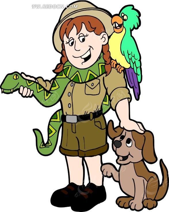 手绘和小动物一起的探险者