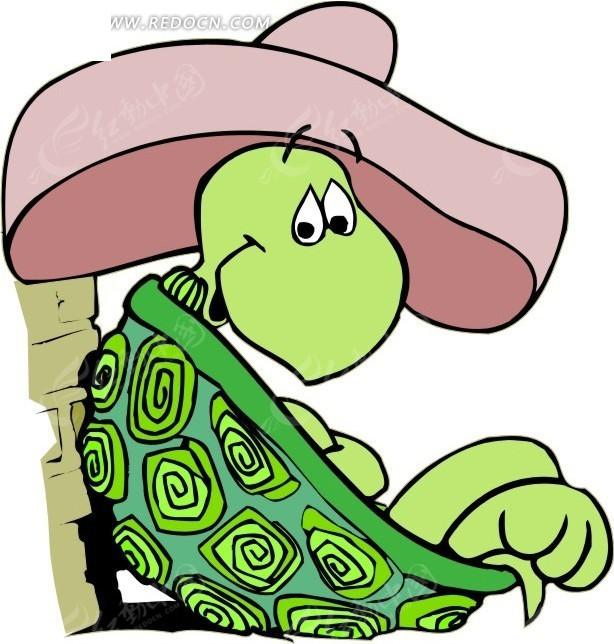 手绘戴着帽子躺着的乌龟