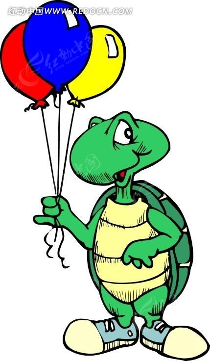 手绘拿着气球的乌龟