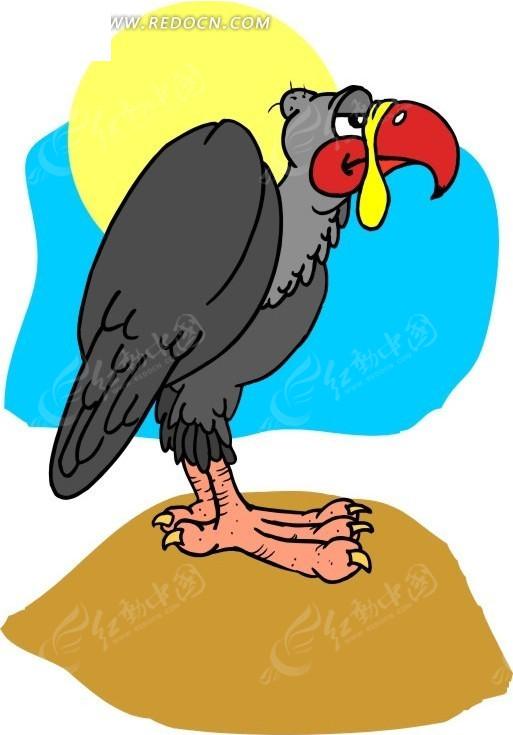 手绘插画收拢翅膀的秃鹫其他素材免费下载_红动网