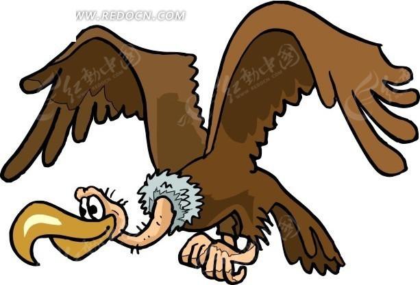 秃鹫 老鹰 卡通动物 卡通画 插画 手绘 矢量素材 动物图片 卡通形象